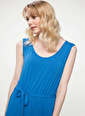 DeFacto Beli Kuşak Detaylı Kolsuz Uzun Elbise Mavi